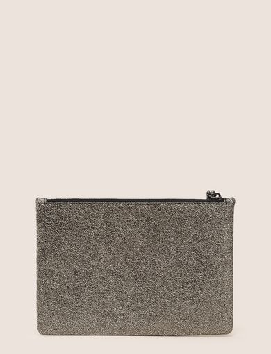 FAUX-LEATHER METALLIC CLUTCH