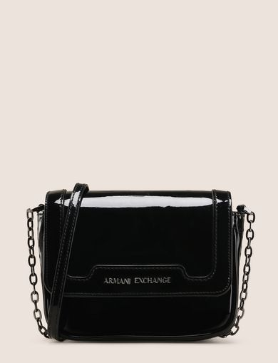 PATENT-EFFECT FAUX-LEATHER CROSSBODY