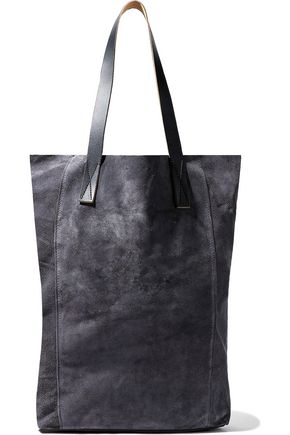 MARNI Leather-trimmed suede tote