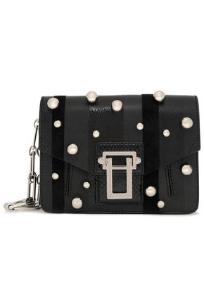 PROENZA SCHOULER Faux pearl-embellished paneled karung, ayers and leather clutch