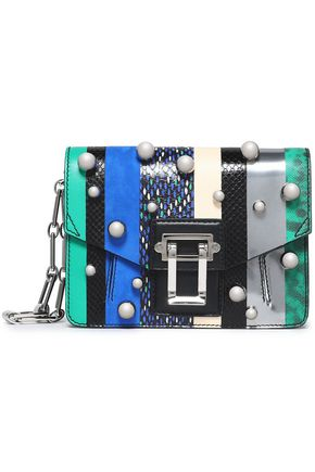 PROENZA SCHOULER Faux pearl-studded paneled leather shoulder bag