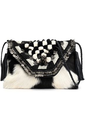 ANTIK BATIK Embellished shearling shoulder bag