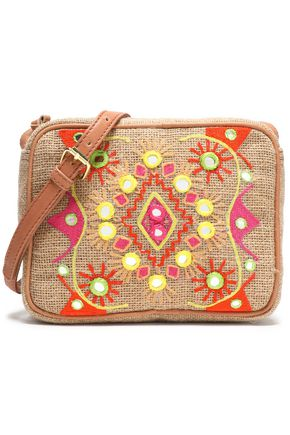 ANTIK BATIK Embroidered canvas shoulder bag