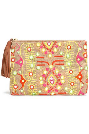 ANTIK BATIK Embroidered canvas clutch