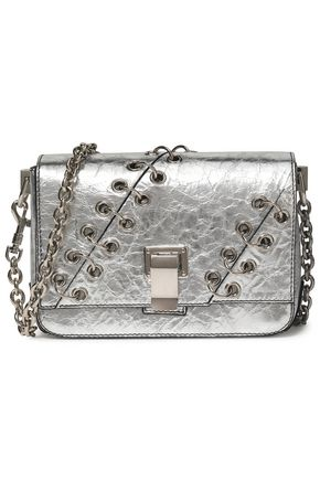 PROENZA SCHOULER PS Courier ring-embellished mirrored cracked-leather shoulder bag