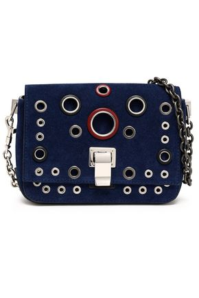 PROENZA SCHOULER PS Courier eyelet-embellished suede shoulder bag