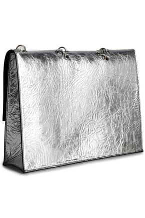 PROENZA SCHOULER Barbell-embellished metallic leather clutch