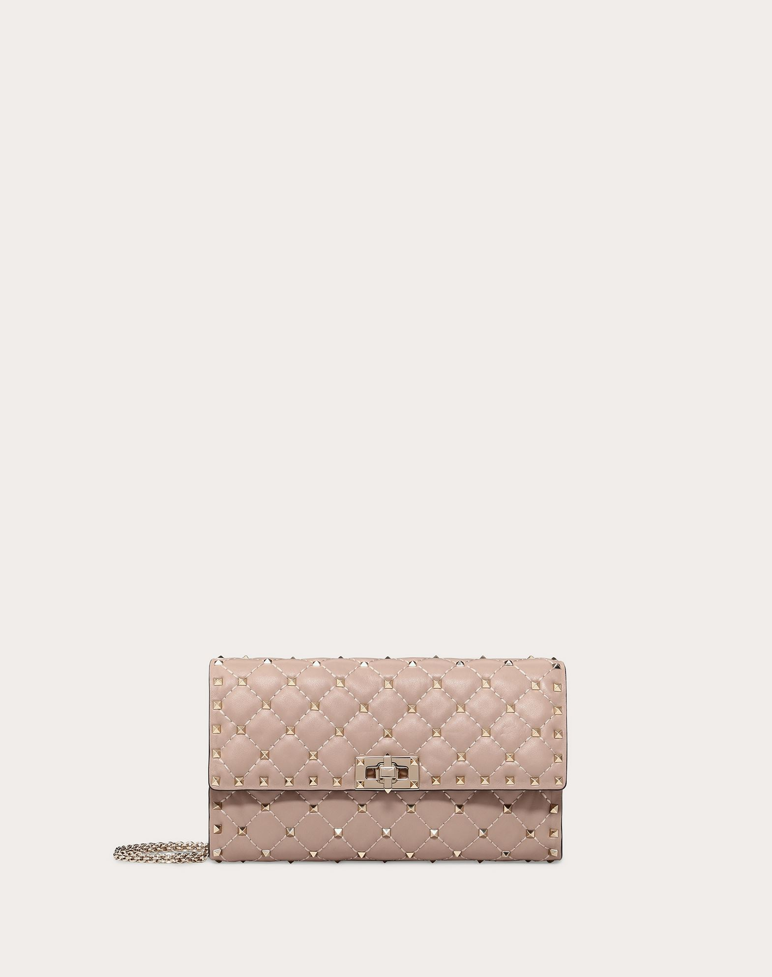 Rockstud Spike Nappa Leather Crossbody Clutch Bag