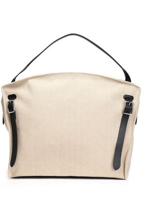 JIL SANDER Leather-trimmed canvas weekend bag