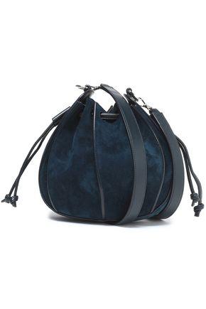 JIL SANDER Leather-trimmed suede bucket bag