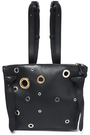 JIL SANDER Eyelet-embellished leather backpack