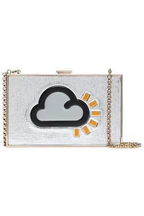 ANYA HINDMARCH Metallic leather box clutch