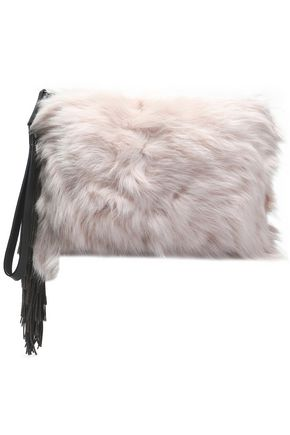 BRUNELLO CUCINELLI Fringed leather-trimmed shearling clutch