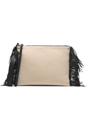 BRUNELLO CUCINELLI Fringed textured-leather clutch