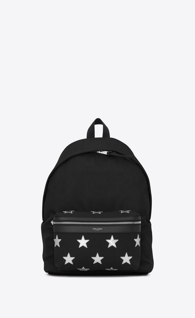 SAINT LAURENT Backpack Man city california backpack in black nylon and silver metallic leather a_V4