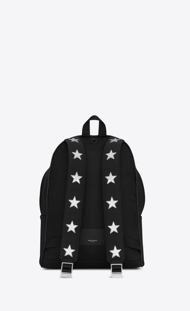 SAINT LAURENT Backpack Man city california backpack in black nylon and silver metallic leather b_V4