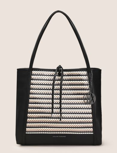 METALLIC WEAVE TOTE BAG