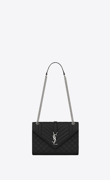 SAINT LAURENT Monogram envelope Bag Woman medium envelope bag in quilted and textured black leather a_V4