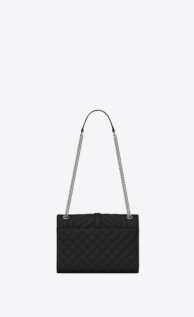 SAINT LAURENT Monogram envelope Bag Woman medium envelope bag in quilted and textured black leather b_V4