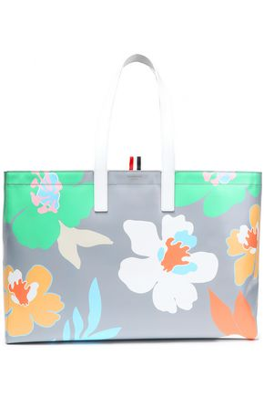 THOM BROWNE Floral-print textured-leather tote