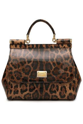 DOLCE & GABBANA Leopard-print patent-leather shoulder bag