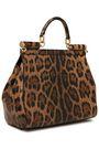 DOLCE & GABBANA Leopard-print patent-leather shoulder bag