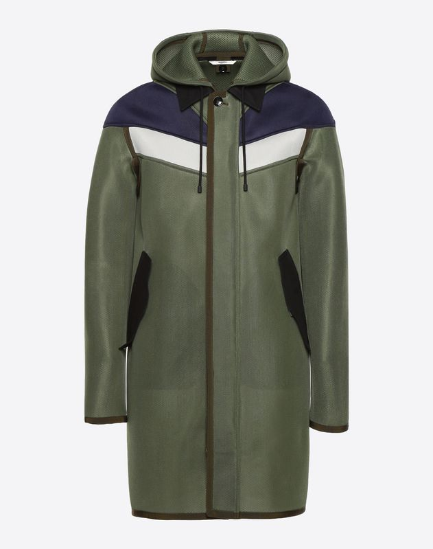 Nylon coat with inlays