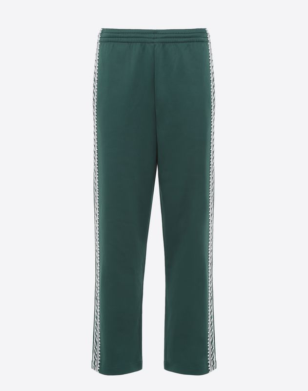 Jersey trousers with geometric embroidery