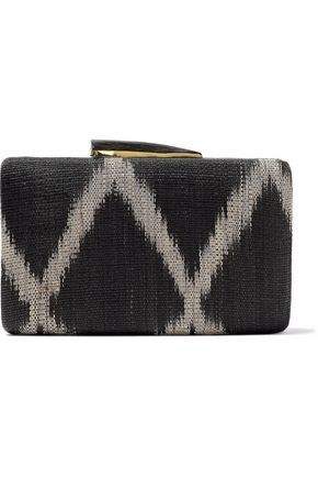 KAYU Augusta printed woven straw clutch