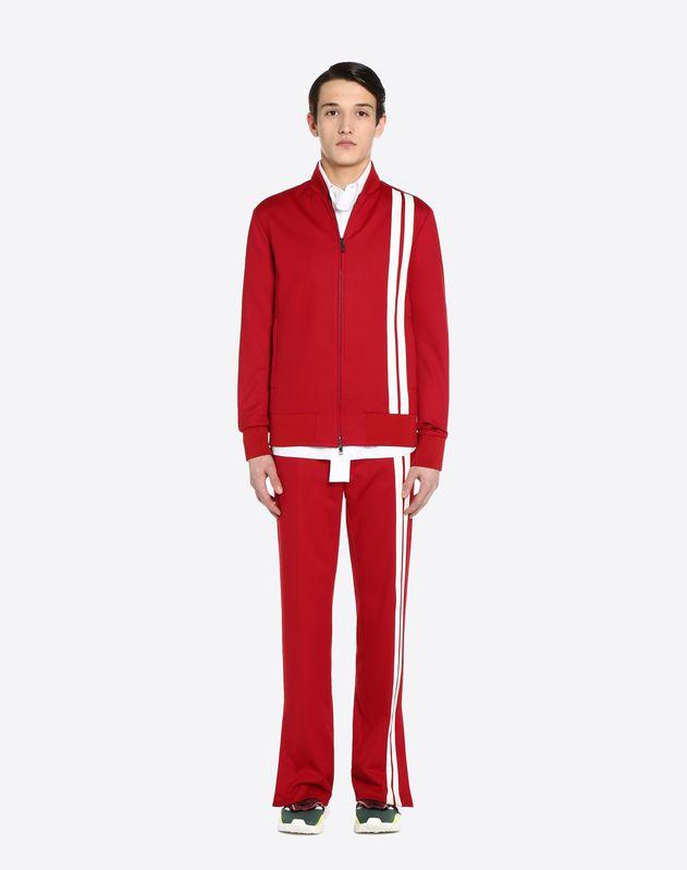 Sweatshirt mit vertikal gestreiften Intarsien