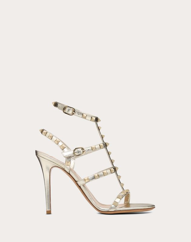 Metallic Rockstud Caged Sandal 100mm