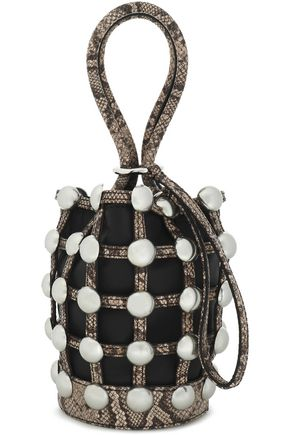 ALEXANDER WANG Studded snake-effect and smooth leather bucket bag