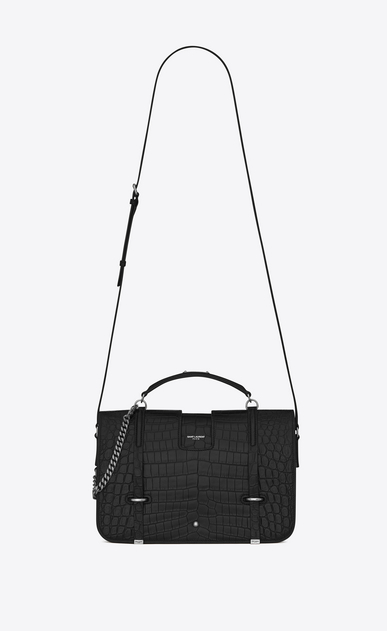 SAINT LAURENT Charlotte Woman large charlotte messenger bag in black crocodile embossed leather a_V4