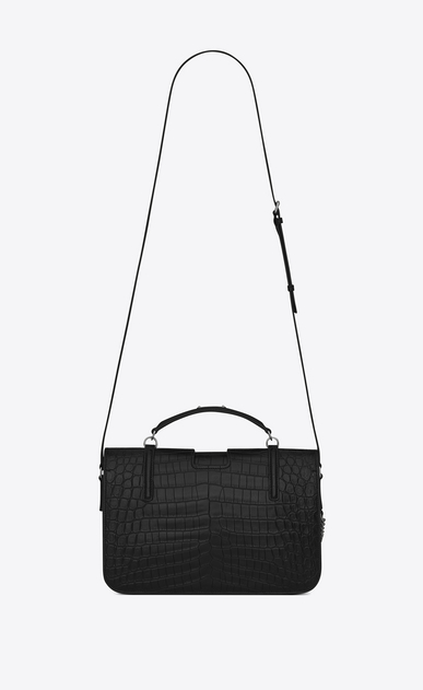 SAINT LAURENT Charlotte Woman large charlotte messenger bag in black crocodile embossed leather b_V4