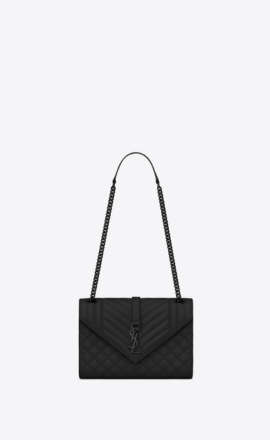 SAINT LAURENT Monogram envelope Bag Woman medium satchel in black textured mixed matelassé leather a_V4