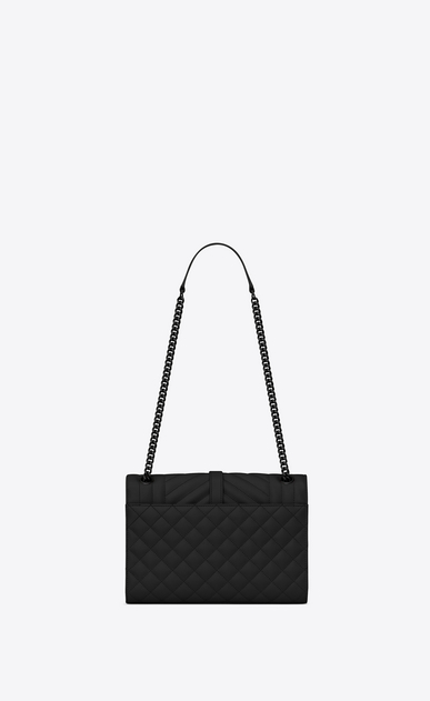 SAINT LAURENT Monogram envelope Bag Woman medium satchel in black textured mixed matelassé leather b_V4