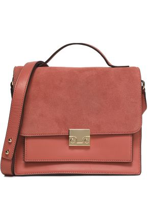 LOEFFLER RANDALL Suede-paneled leather shoulder bag