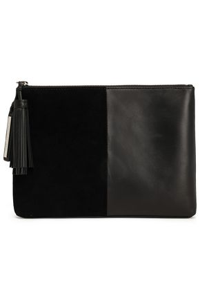 LOEFFLER RANDALL Tasseled leather and suede pouch