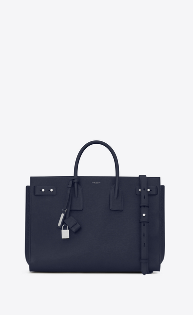 SAINT LAURENT Sac de Jour Men Man large sac de jour souple bag in navy blue leather a_V4