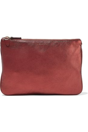 SANDRO Metallic textured-leather shoulder bag