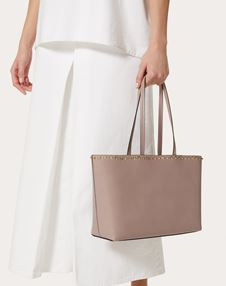 Small Rockstud Grainy Calfskin Shopper