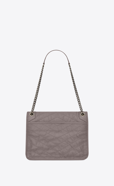 SAINT LAURENT Niki bags Woman medium niki chain bag in crinkled and quilted fog leather b_V4