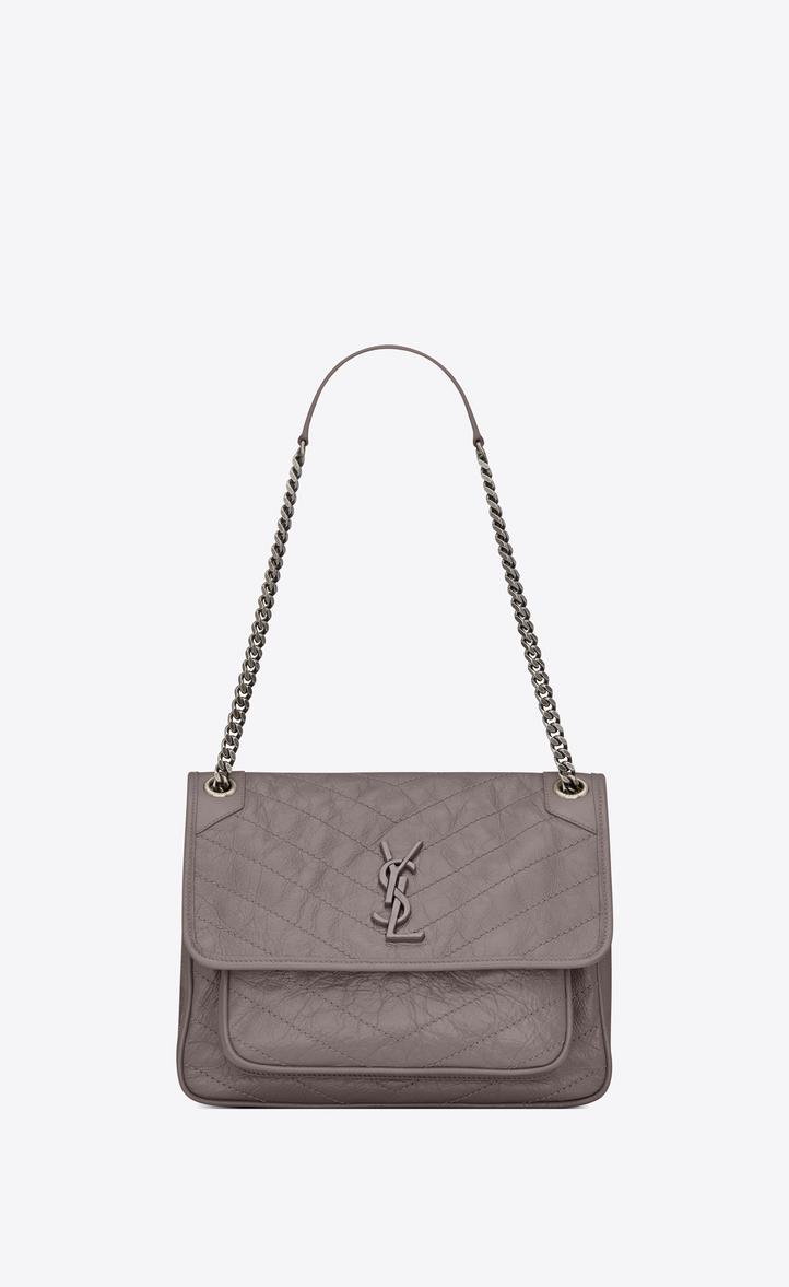0c01b78444944 Saint Laurent Medium Niki Monogramme Chain Bag In Gray