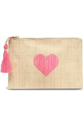 KAYU Embroidered straw pouch