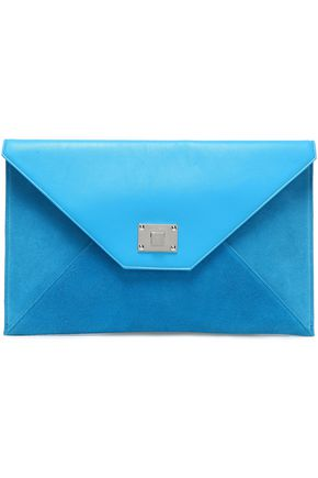 JIMMY CHOO Rosetta leather and suede envelope clutch