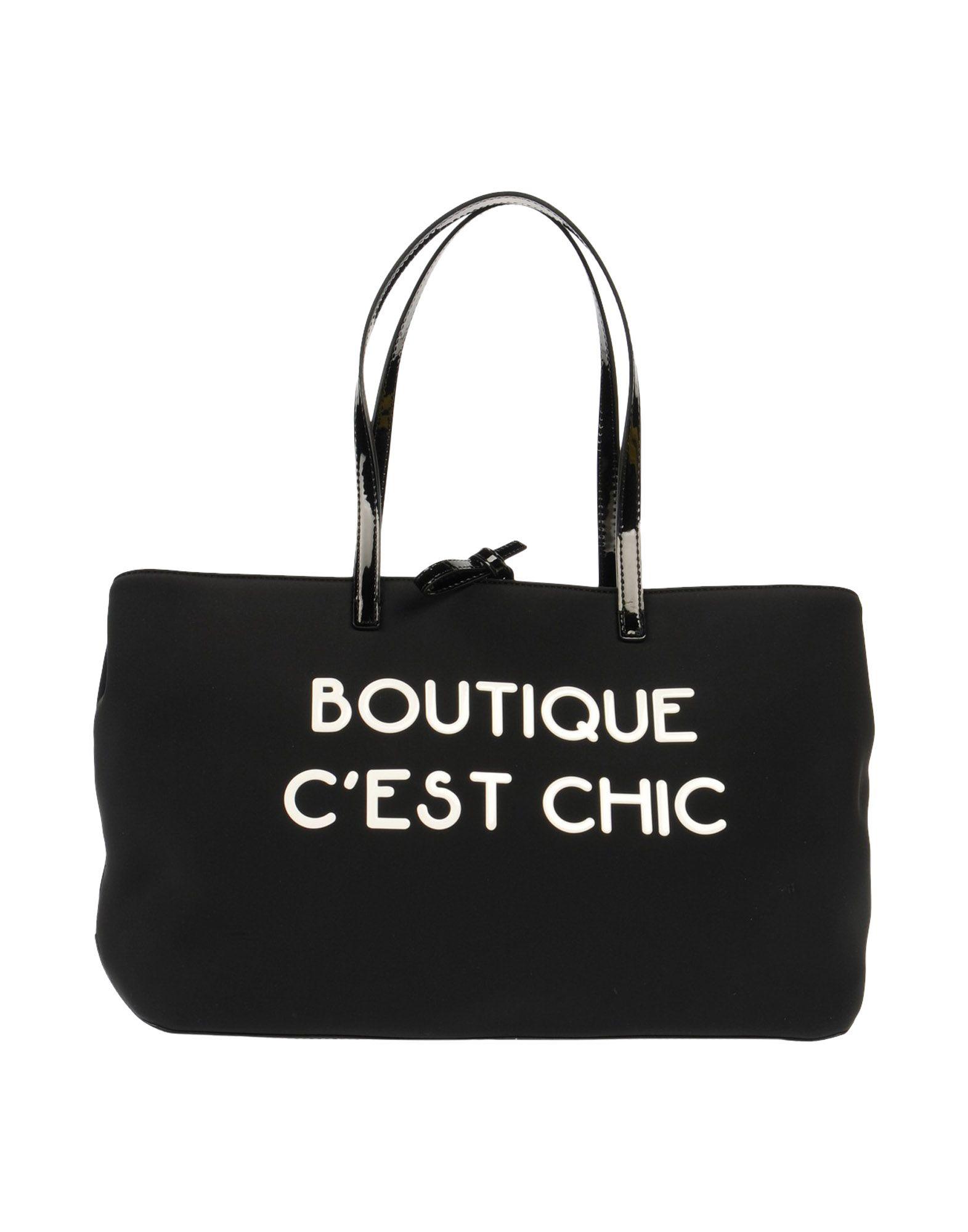 《送料無料》BOUTIQUE MOSCHINO レディース 肩掛けバッグ ブラック 革 / 紡績繊維