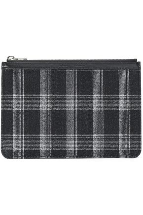 PROENZA SCHOULER Leather-trimmed checked wool-blend clutch