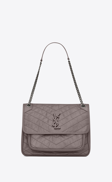 SAINT LAURENT Niki bags Woman large niki chain bag in crinkled and quilted fog leather a_V4