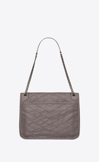 SAINT LAURENT Niki bags Woman large niki chain bag in crinkled and quilted fog leather b_V4