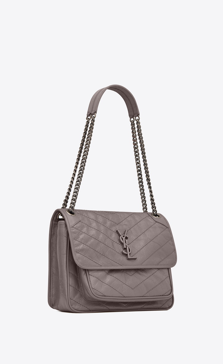 349993290e Saint Laurent Medium Niki Monogramme Chain Bag In Gray